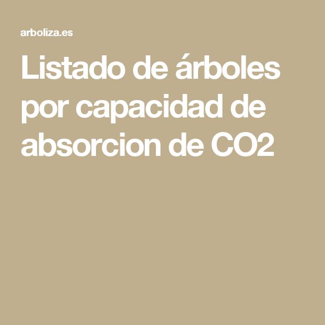 Listado de árboles por capacidad de absorcion de CO2