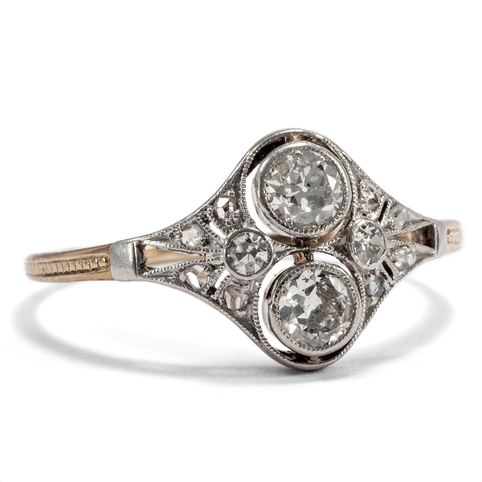 Message In A Ring Toi Et Moi Ring Mit Altschliff Diamanten In Gold
