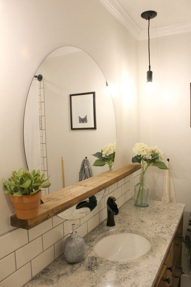 11 Budget Ways To Upgrade Your Basic Frameless Bathroom Mirror Idee Salle De Bain Decoration Salle De Bain Idee De Decoration