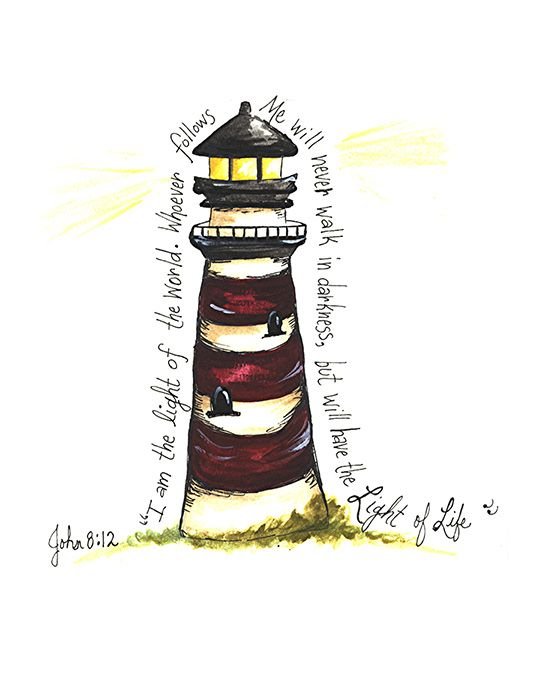 Lighthouse: Red (John 8:12) Print