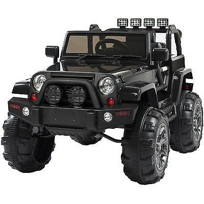 Jeep Wrangler Black 12v Battery Ride On Car Truck Rc Remote