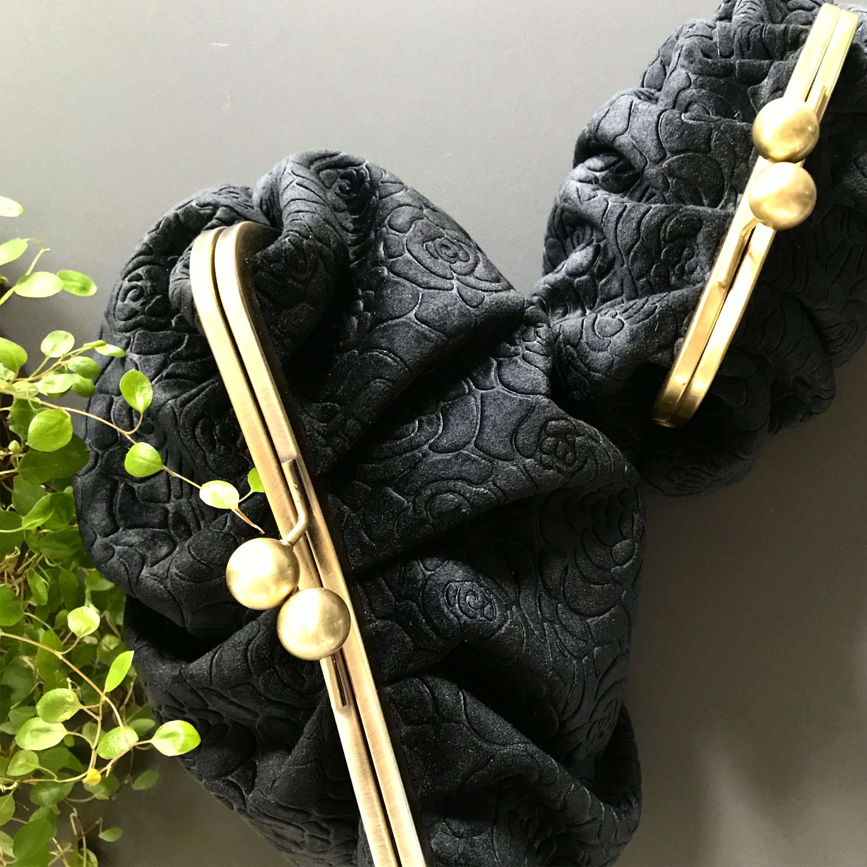 Black Camellia Velvet Cosmetic Bag