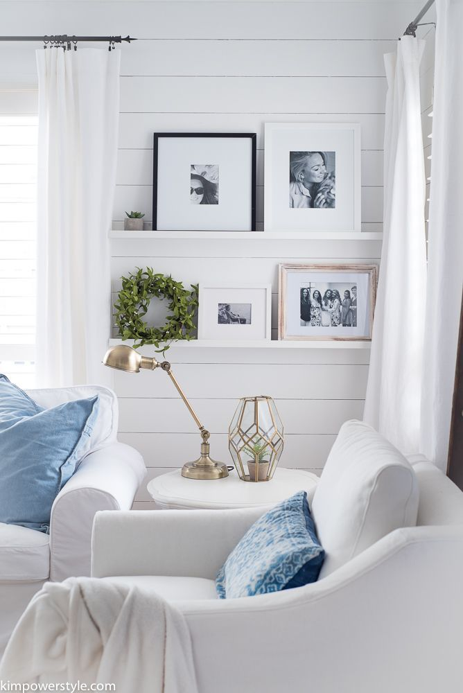 Wall Ledge Ideas Shelf Décor Shelves Shiplap Living Room Slipcovered White Couches Farmhouse Decor