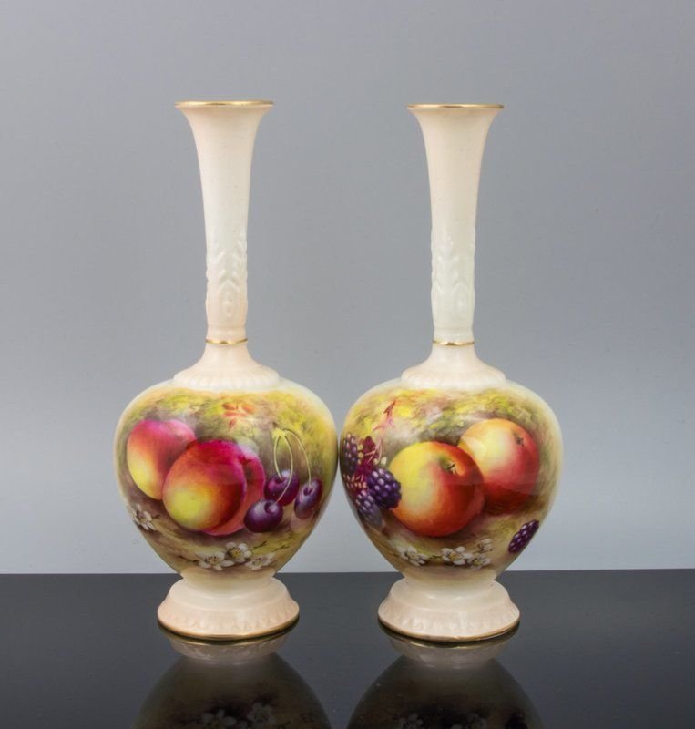 A Pair Of Royal Worcester Vases Signed E Townsend C1930 Royal