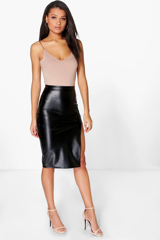 236cb7f1d6 Leather Look Pencil Skirt Boohoo