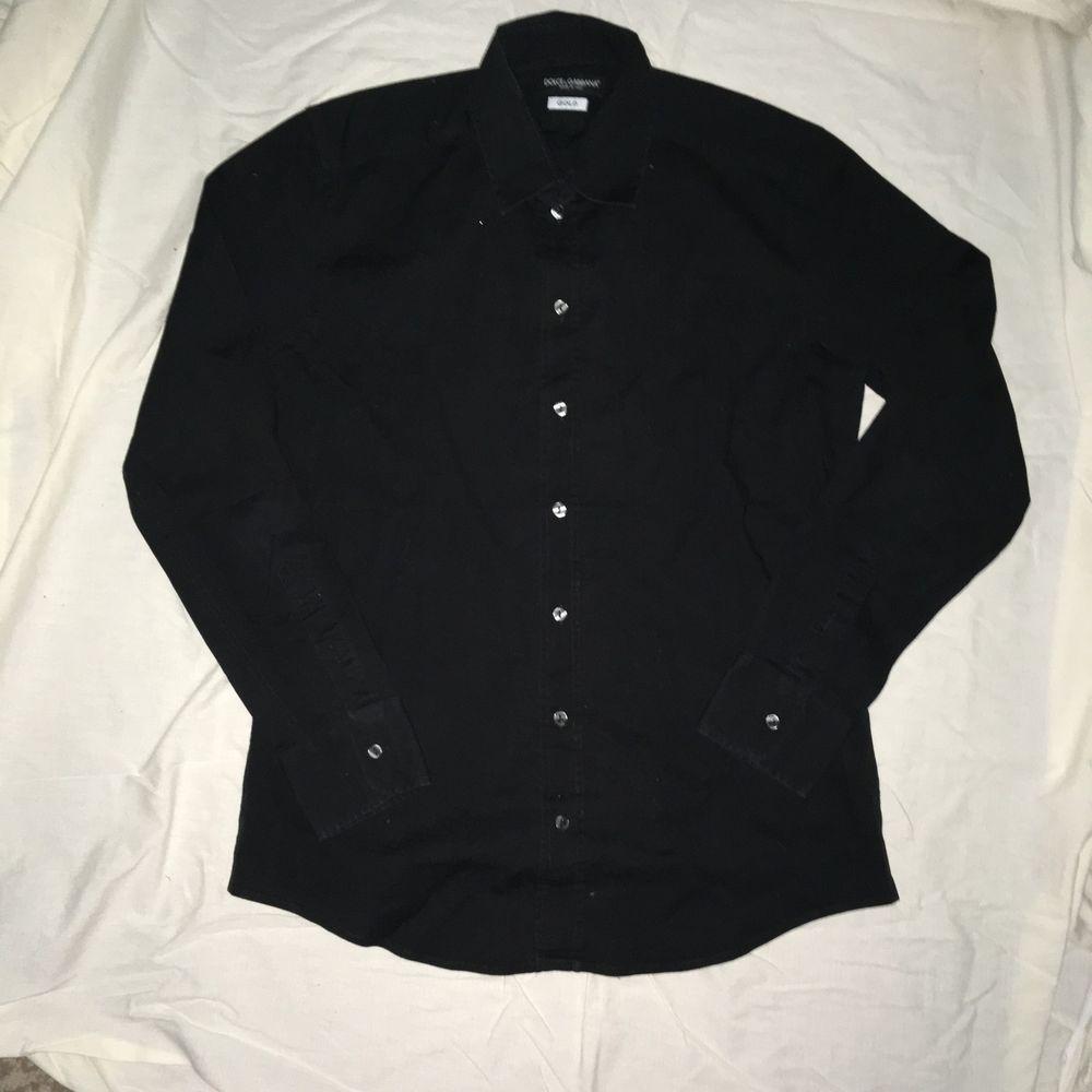 Details about dolce u gabbana mens black long sleeve dress shirt