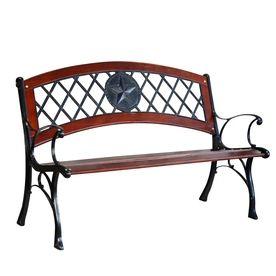 Garden Treasures 25 95 In W X 49 5 In L Brown Steel Patio Bench
