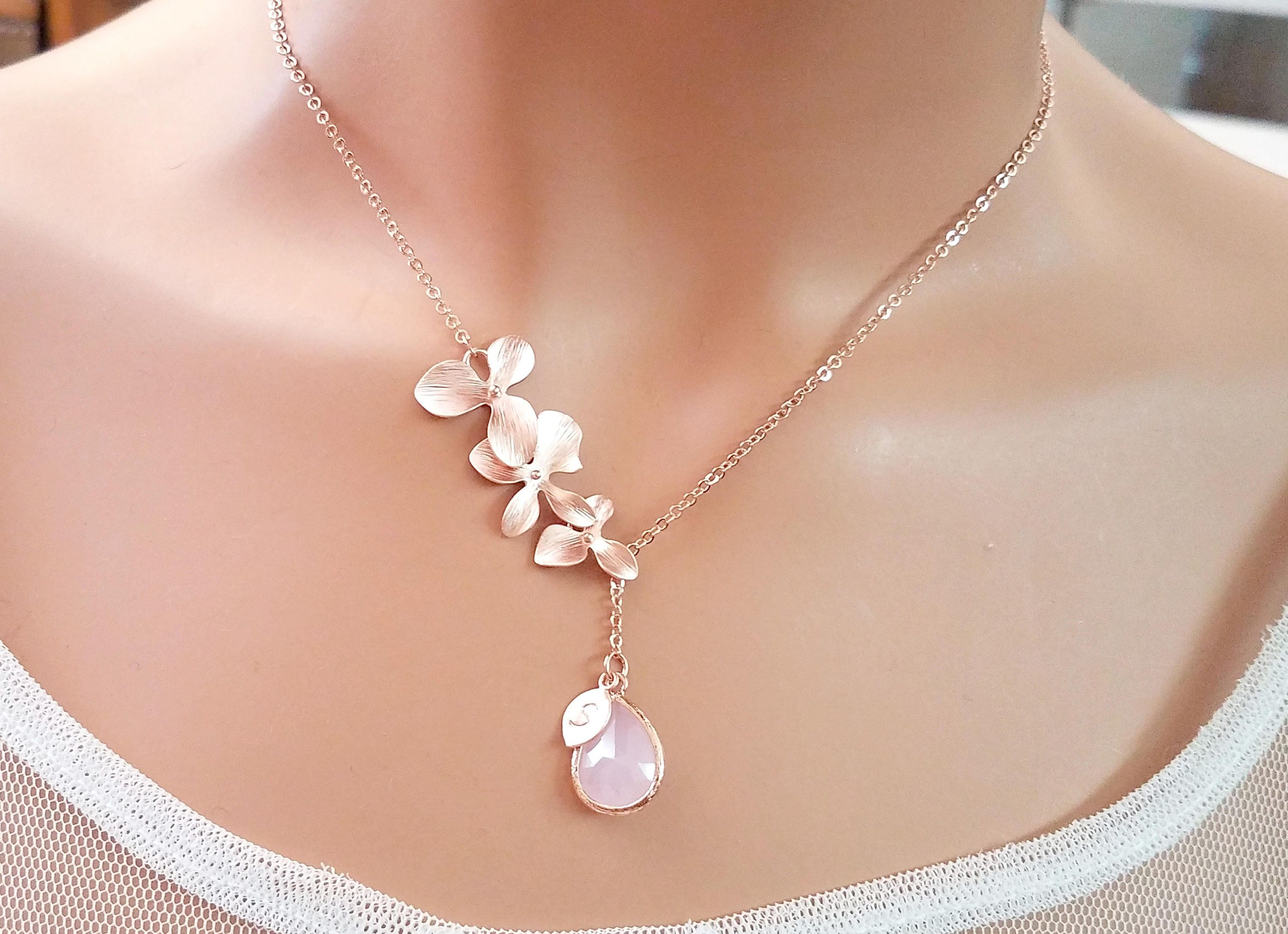 Personalized Birthstone Necklace Orchid Flower Necklace Pink Opal Necklace Birthstone Jewelry Personalized Gift Christmas Gifts for Her