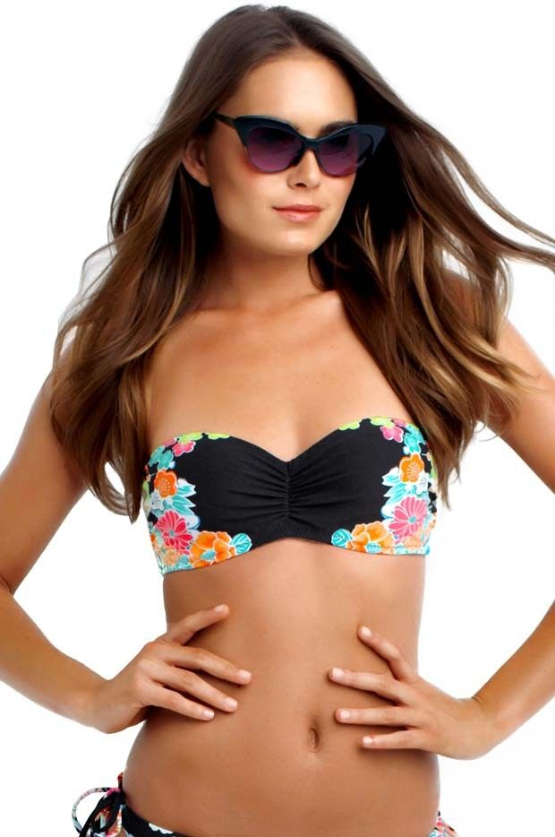 d6f8a4e325ada Seafolly Kimono Rose Bustier Bandeau - Seafolly Kimono Rose Bustier Bandeau  with; Oriental infused placement floral print Sweetheart neckline with  gathered ...