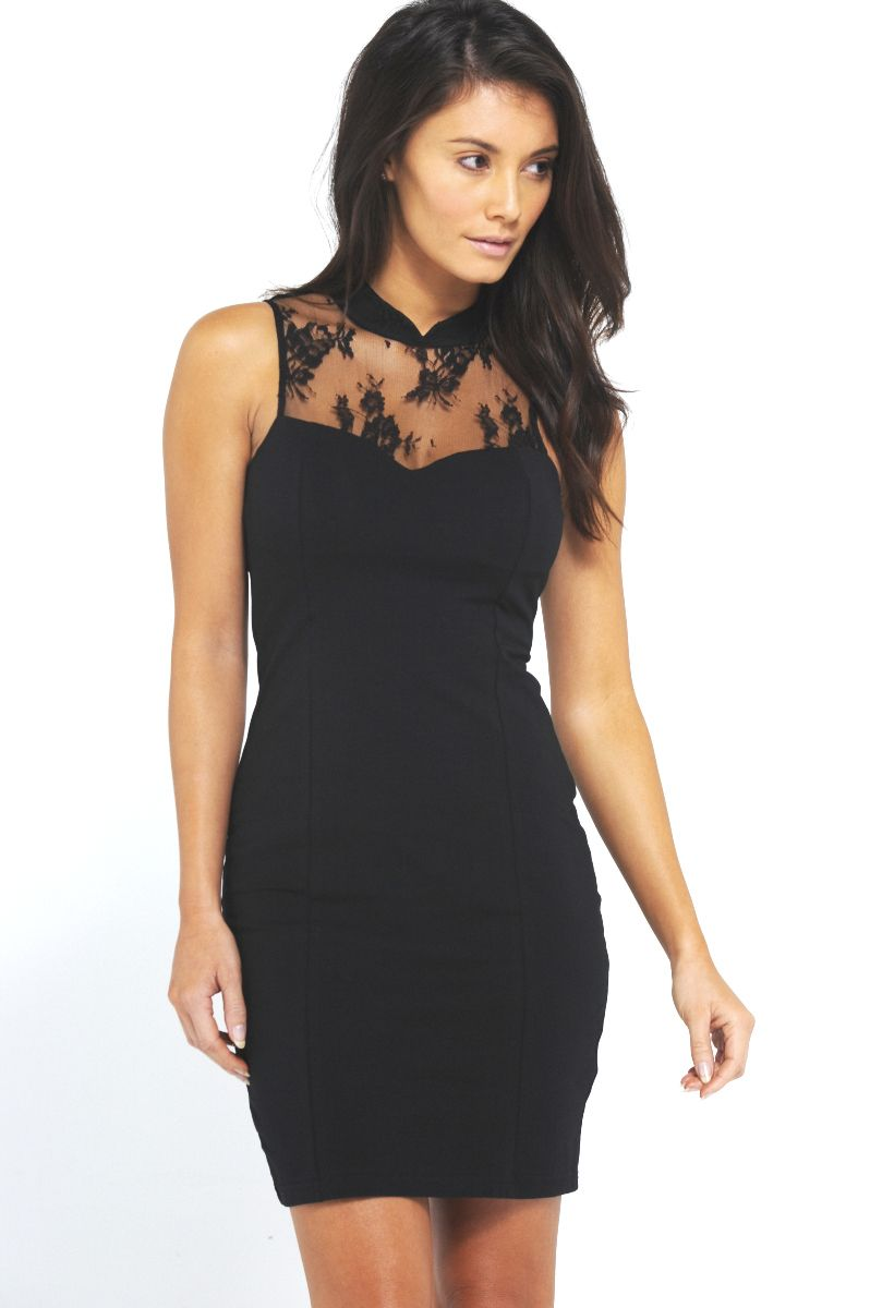 High neck lace fitted dress