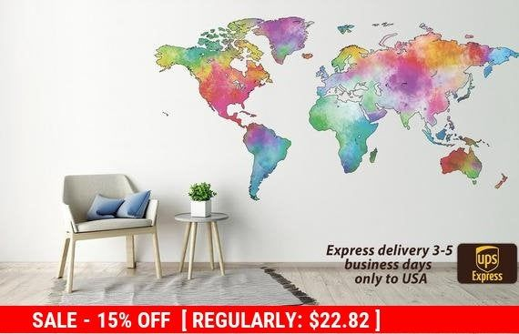 World map decal Abstract World map sticker World map prints World map mural World map decor Map of the world Wall art Wall decor Poster Art #worldmapmural