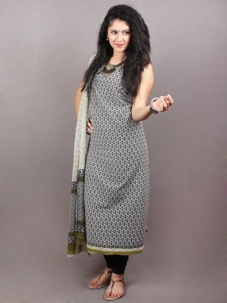 Black White Olive Green Hand Block Printed Cotton Suit Salwar Fabric With Chiffon Tta S1628105