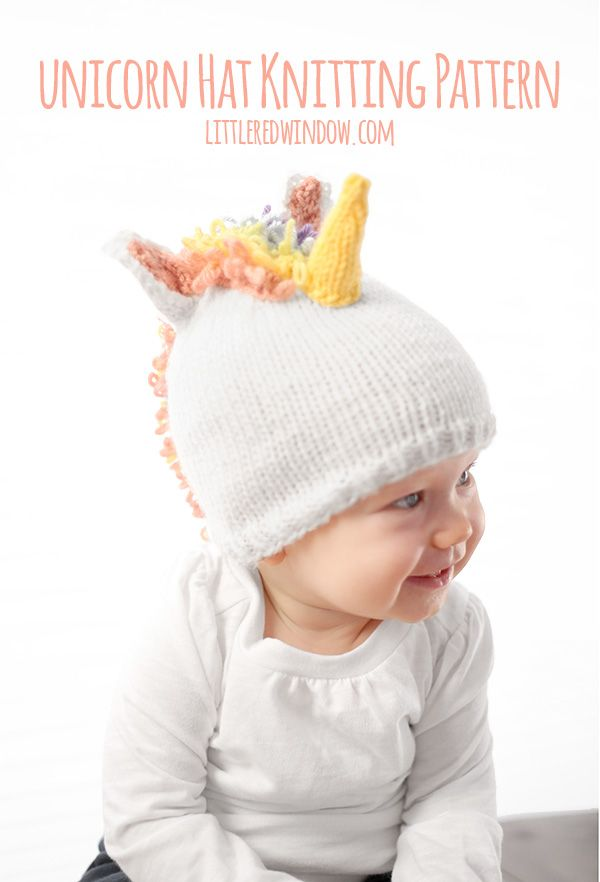 fedc8107228 Knit this fun and magical unicorn hat for your baby or toddler with this  cute knitting pattern!