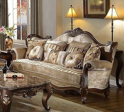 Marseille French Provincial Beige Sofa In Chenille And Dark Solid Wood 1 498 00 Www Ebay Com Furniture Sofa Furniture Home Furnishings