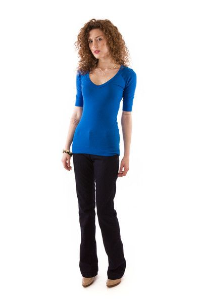 Half Sleeve Luxe V-Neck in Electric, Crown Jewel, $52 via boutiika.com