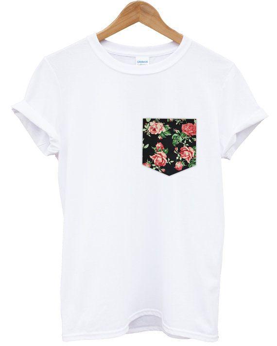 eec1c8d5 Red & Black Vintage Rose Floral Print Pocket T-shirt Top Tee Hipster ...