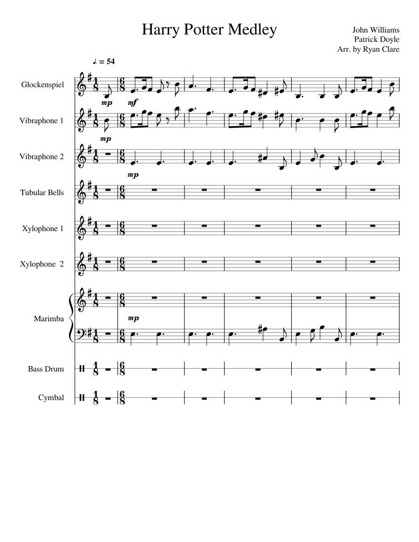Print And Download Harry Potter Medley Completely Forgot To Actually Release This Just Had To Clean It Up A Littl Percussion Music Orff Songs Music Lessons