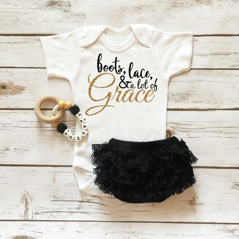 fb30bf6f5af73 Boots, Lace, & Grace Onesie | the noodles | Baby, Baby bloomers ...