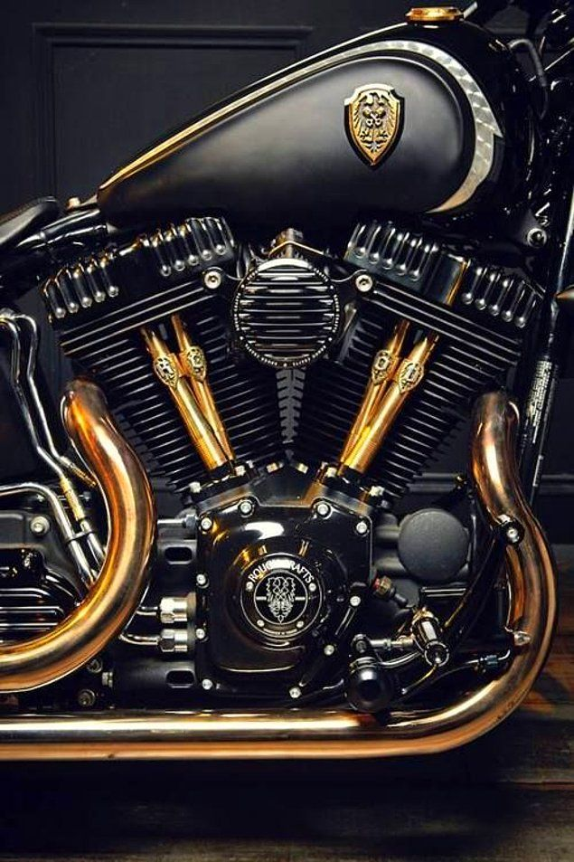 Harley Davidson Black And Gold Engine The Air Filter Is A