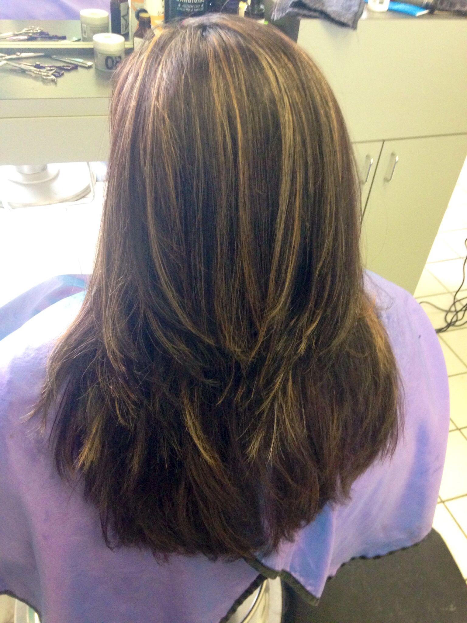 Subtle Blonde And Carmel Highlights In Dark Brown Hair Salon A Go