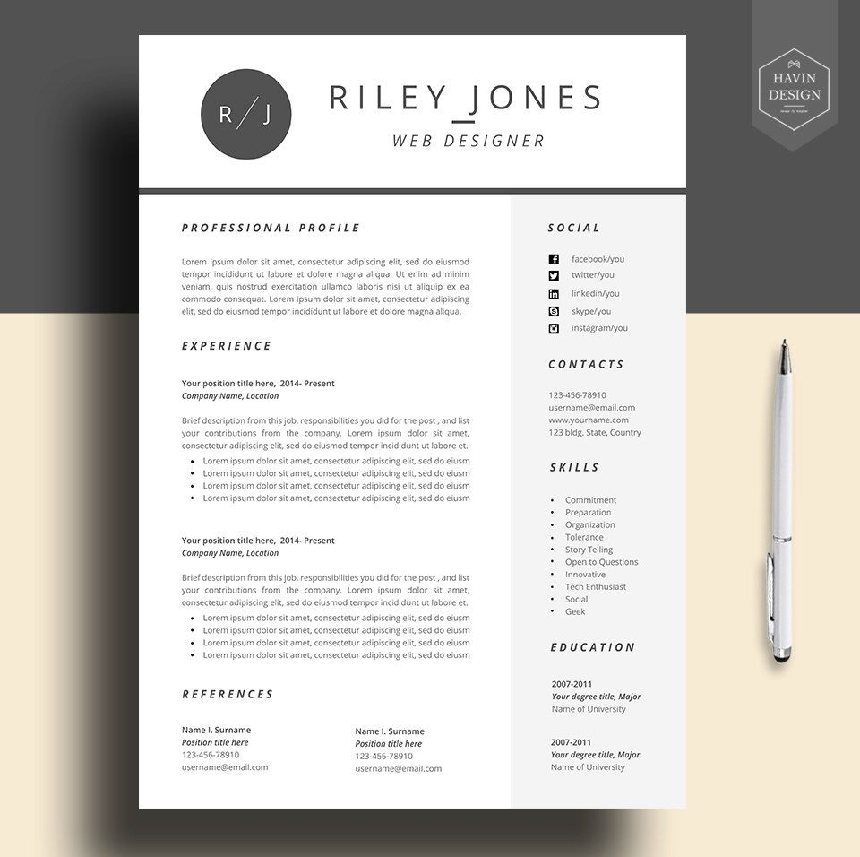 Professional resume template, cv template, resume template for word ...