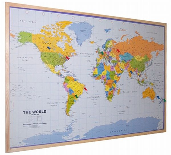 World Pinboard Map With Light Wood Frame World Framed Maps - Travel wall map with pins