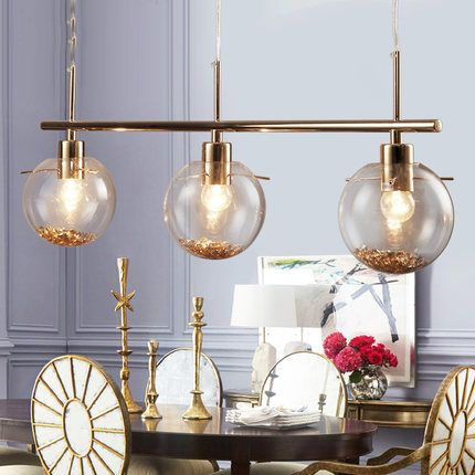 American Modern Crystal Glass Hanging Lamps Dining Room Restaurant