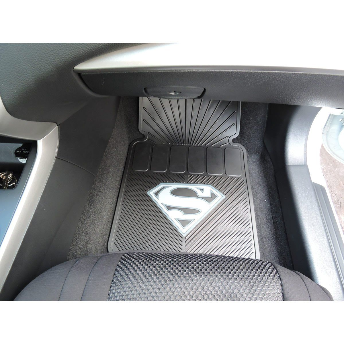 Superman Gray Silver Shield 2pc Front Black Rubber Universal Car Truck Floor Mats Set You Can Find Out More Details At The Link Of Image