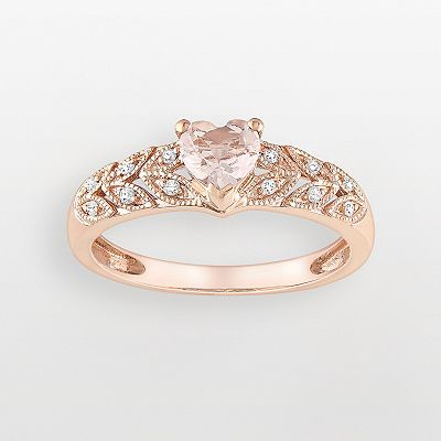 10k Rose Gold Morganite and Diamond Accent Heart Ring from Zales or