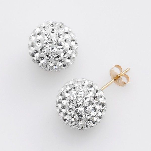 Gold N Ice 14k Crystal Ball Stud Earrings Made With Swarovski