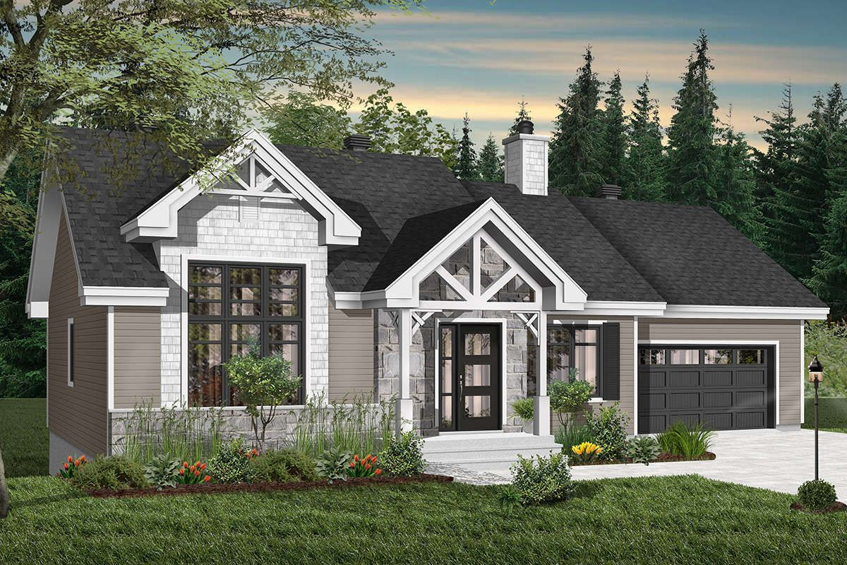 House Plan 034 01142 Craftsman Plan 1 240 Square Feet 2 Bedrooms 1 Bathroom Ranch Style House Plans Drummond House Plans Craftsman House Plans