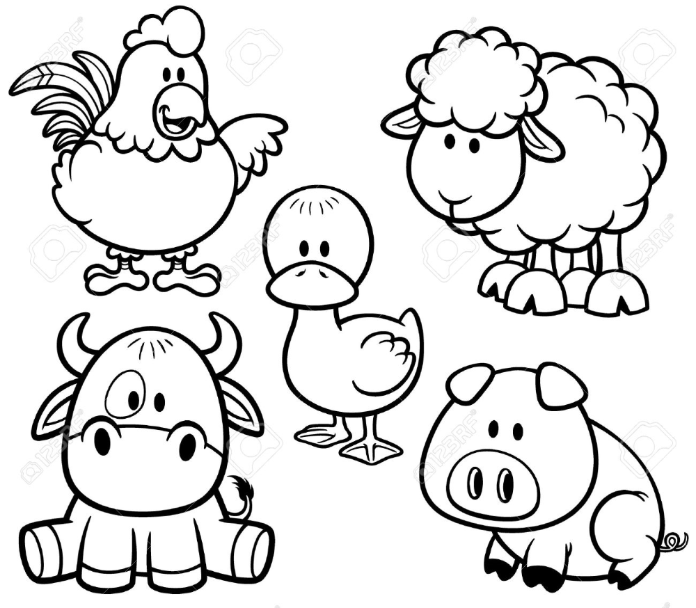 Vector Illustration Of Cartoon Animals Farm Set Coloring Book Farm Animal Coloring Pages Animal Coloring Pages Coloring Books