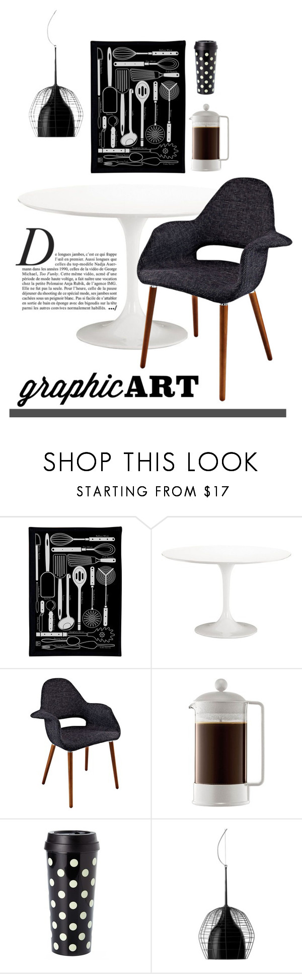 """""""Starkly Bold and Simple"""" by patricia-dimmick ❤ liked on Polyvore featuring interior, interiors, interior design, home, home decor, interior decorating, Pop Chart Lab, Zuo, Universal Lighting and Decor and Bodum"""