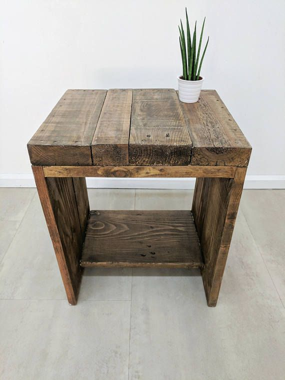 Rustic Wood Bedside Table: LAUAKE Bedside Table In Light Oak Finish Made Of Rustic