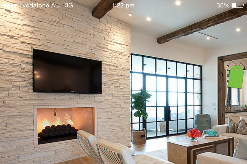 Stone Feature Wall Beams Stone Feature Wall Cabin Homes Tiny Cabin