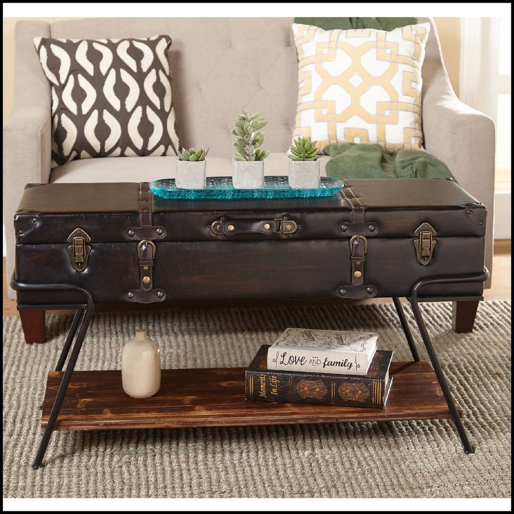 trunk coffee table living room furniture simple ideas for decorating a storage solid wood vintage with shelf coffeetable livingroomtable livingroomfurniture vintagefurniture