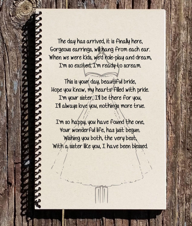 Bridesmaid Gift laminated poem A4