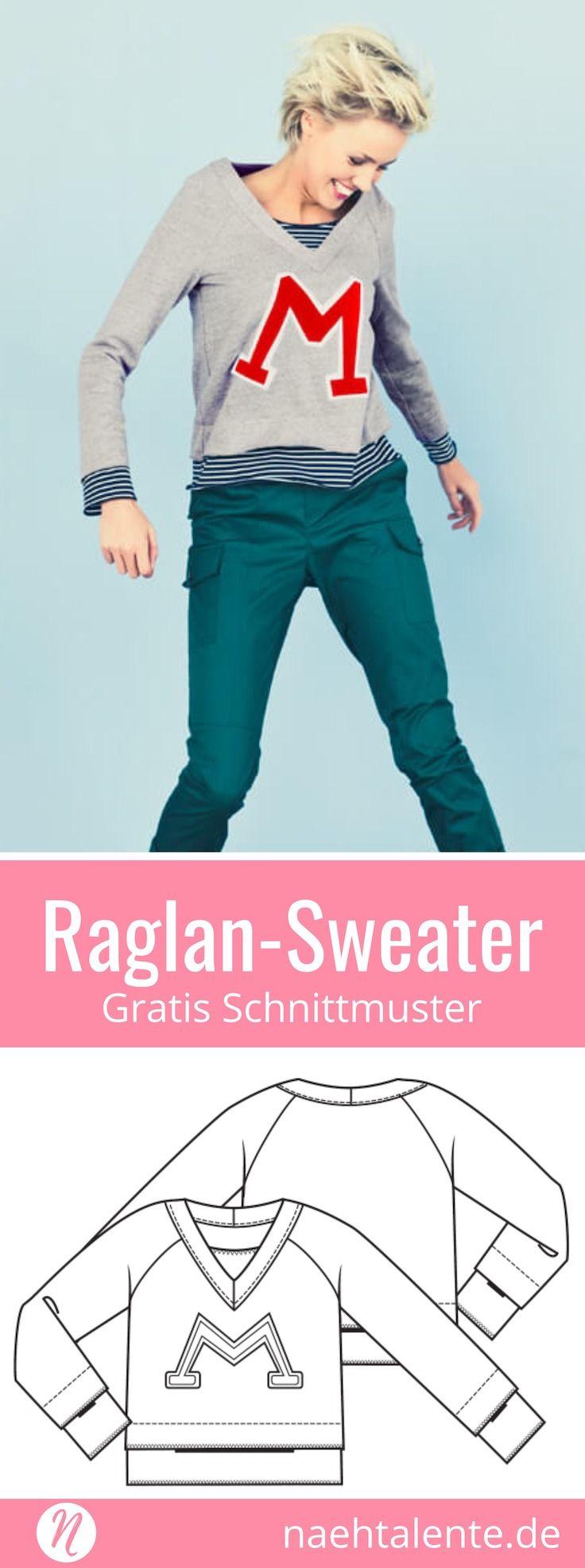 Raglan-Sweater für Damen - Freebook - Gr. 34 - 46