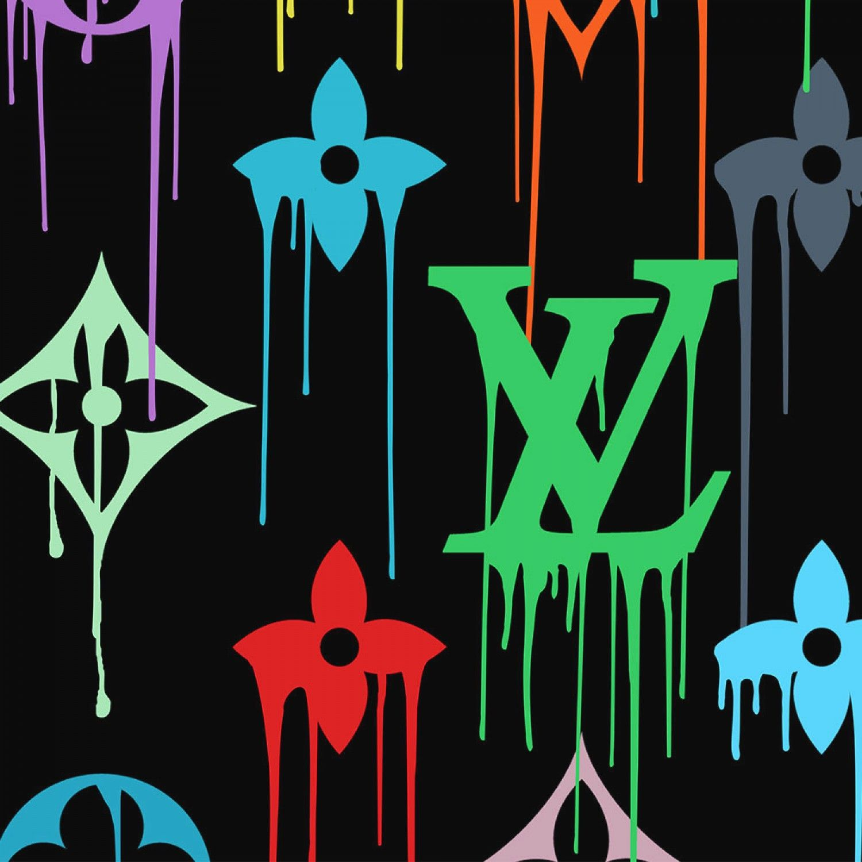 Louis Vuitton Multicolor Paint Drip Fashion Graffiti Pop Art Wall Art | Framed Canvas Wall Art