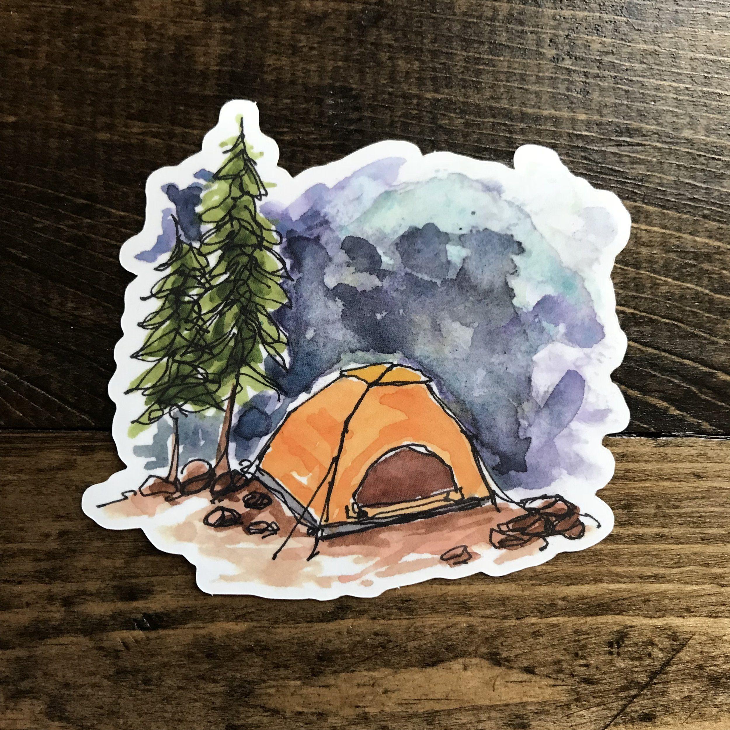 Vinyl Sticker Camping Tent In 2020 Watercolor Stickers Vinyl