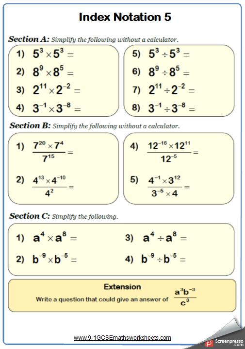 Pin By Natalija Krievane On Maths Worksheets Indices Maths Math Examples Math Worksheet