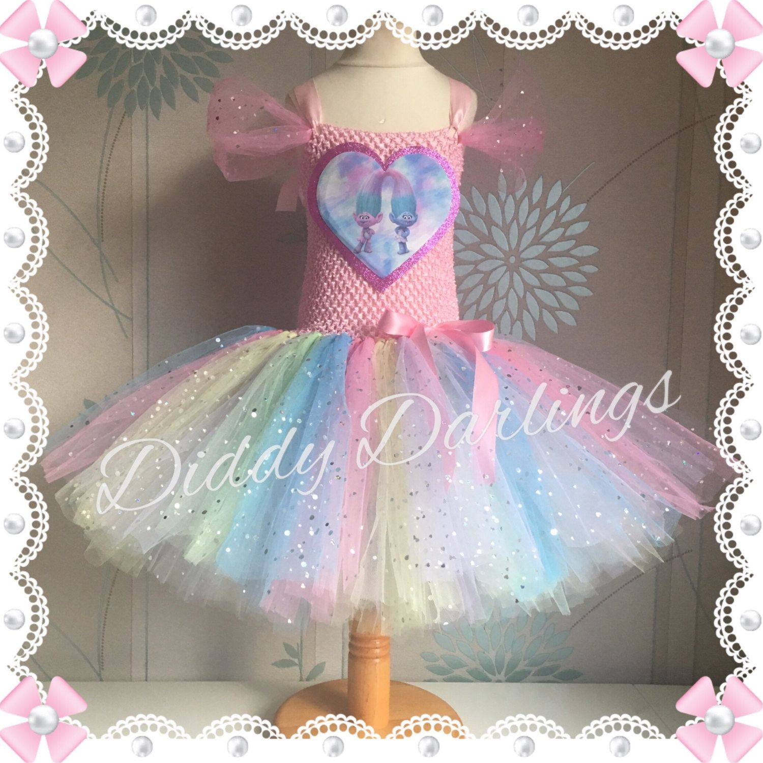 Sparkly satin and chenille tutu dress trolls costume dress trolls costume dress inspired handmade dressl sizes fully customised any characters or colours by diddydarlings on etsy solutioingenieria Choice Image