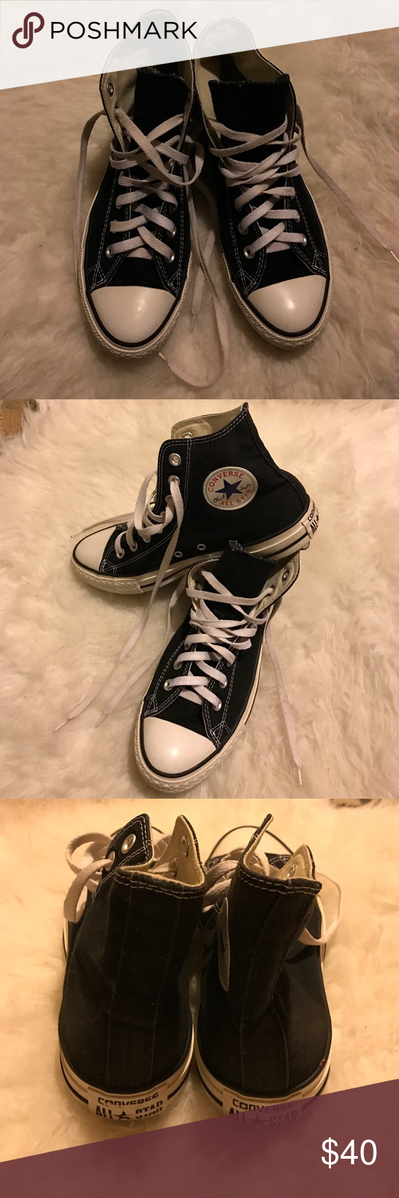 Black Chuck Taylors Got these high tops for a Halloween costume this year; worn once. They were really comfy, not really my style though. They're labeled as 9 for women (7.5 for men) , but I think they fit more as a 9.5 for women. I bet you can make 'em work! Converse Shoes