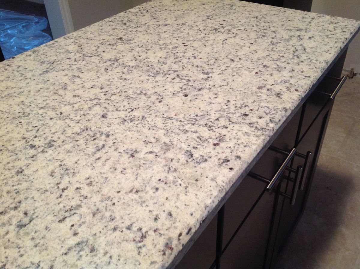Dallas White granite countertops with dark cabinets - LOVE ...