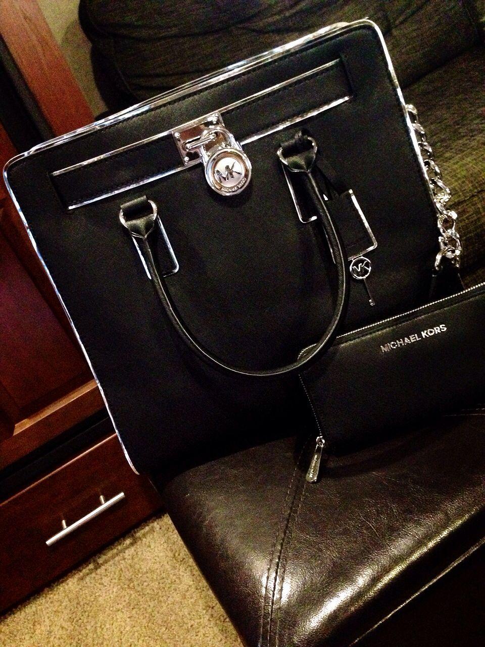 Love my black and silver Michael Kors tote! #MK