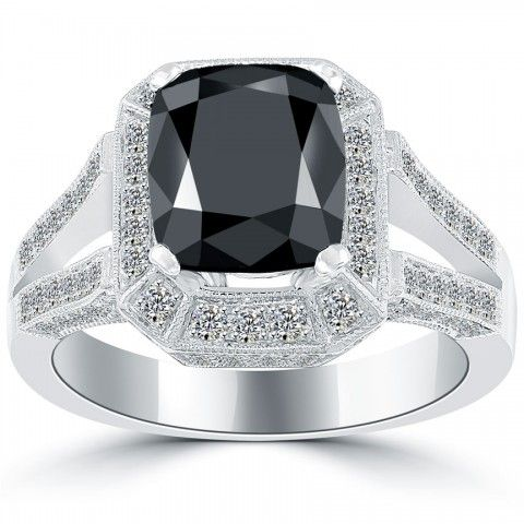 3.20 Carat Certified Cushion Cut Black Diamond Ring 14k Pave Halo Vintage Style