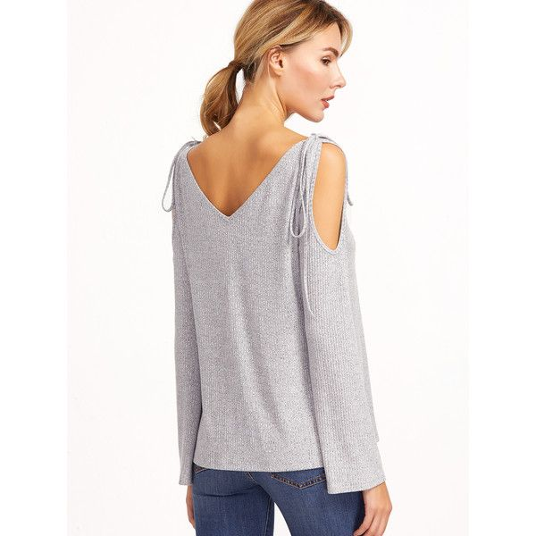 99753dab3ee Grey Marled Ribbed Knit Tie Cold Shoulder T-shirt (€2,80) ❤ liked on  Polyvore featuring tops, cut out shoulder top, open shoulder top, gray top,  tie top ...