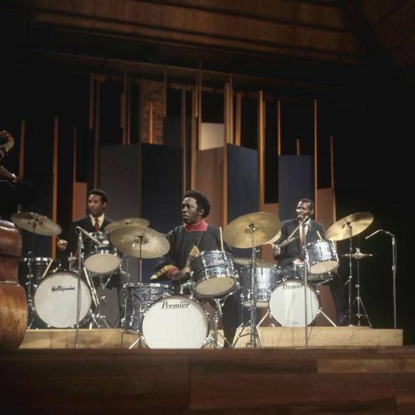 Max Roach Art Blakey And Elvin Jones Performing On Bbc Tv Show Playing Premier Drum Kit Drums December 27 Bbc Tv Shows Art Blakey Percussion Instruments