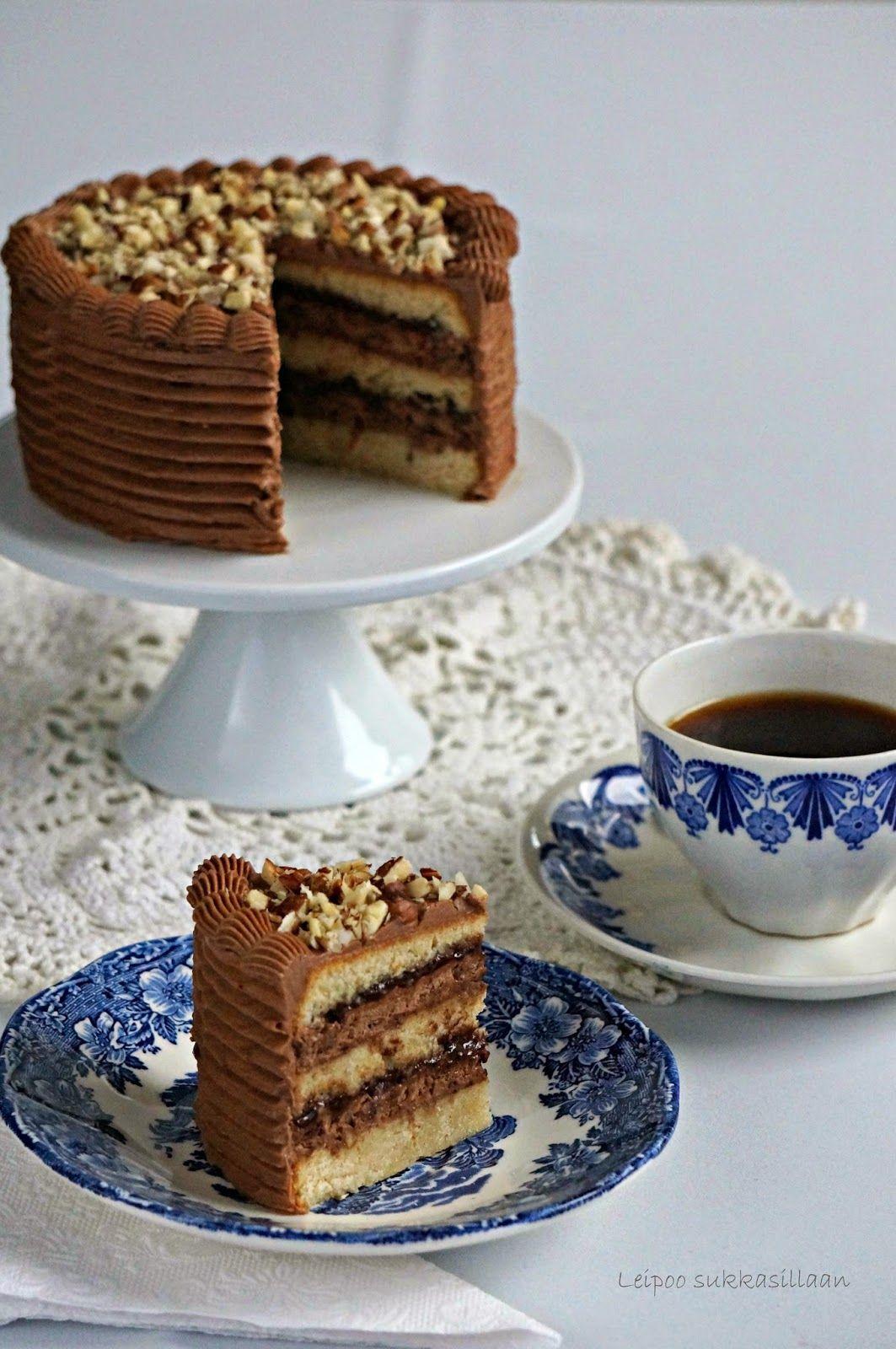 Leipoo sukkasillaan: Hasselpähkinä-suklaakakku