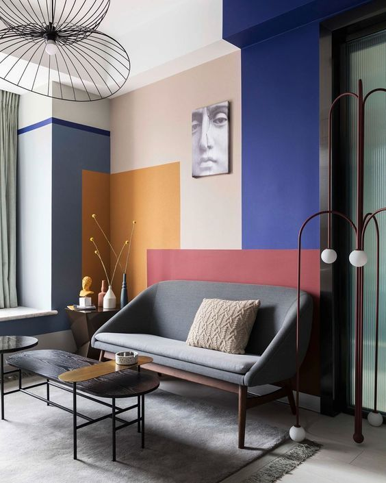Colour Blocking Interiors: Feature Wall Modern Living Room